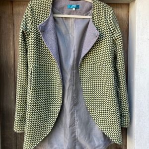 Buttons grey/green checkered jacket LARGE